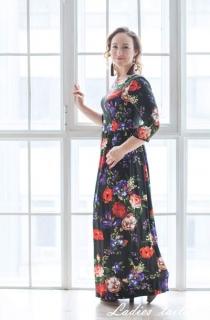 Шелковое платье в пол с цветочным принтом.